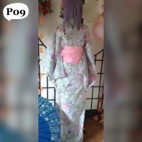 Yukata Kimono Baju Jepang Obi Cosplay Motif Flower Bunga Pink Abu P09
