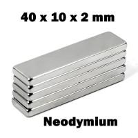Magnet Super Neodymium Kepingan persegi kotak NdFeB 40 x 10 x 2 mm