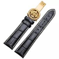 22mm Patek Strap Phillipe Tali Jam tangan kulit buckle gold clasp