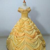 gaun belle beauty and the beast dewasa cosplay dress pengantin