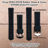Strap Aftermarket SEIKO DIVER Hitam Rubber 20mm Tali Band Lug 20 mm