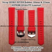 Strap Aftermarket SEIKO DIVER Merah Rubber 20mm Tali Band Lug 20 mm