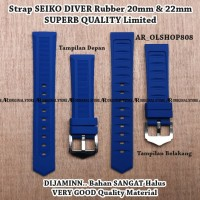 Strap Aftermarket SEIKO DIVER Biru Rubber 22mm Tali Band Lug 20 mm
