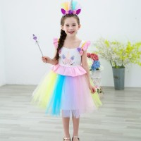 GA2668 UNICORN FLOWER DRESS PINK .. BAJUKIDDIE DRESS ANAK KUDA PONI