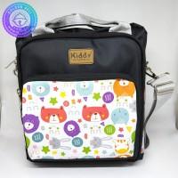 Square Cooler Bag Tas ASI dan Bekal Model Kotak Selempang Kiddy Hitam