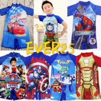 baju renang anak cowok wings, paw patrol, poly car, thomas, minion,