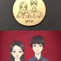 Tiaria Couple Pendant Liontin Perhiasan Emas 24K Free Engrave 5 gram