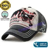 Jamont Skull Head Tengkorak 3D Embroidery Topi USA Impor Baseball Cap