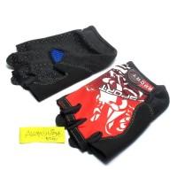 Sarung Tangan L size Gloves Half Finger Sepeda hitam Merah