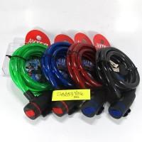 Kunci Gembok Kabel Seling Sepeda Spiral Lilit Warna Random