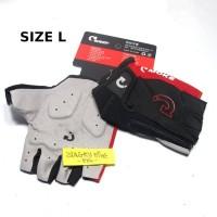 Sarung Tangan Size L Sepeda Moke Half Finger Gloves Hitam Merah