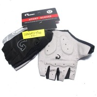 Sarung Tangan Size XL Sepeda Moke Half Finger Gloves Hitam Abu