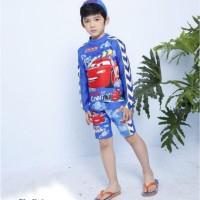 Baju Renang /Swimsuit/Diving Anak Laki laki Stelan + Topi Mobil Biru