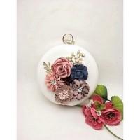 Clutch / Tas Pesta cantik bunga bulat impor china
