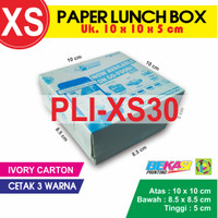 PLI-XS30 | Paper Lunch Box uk. XS 10x10x5 cm + Cetak 3 Warna