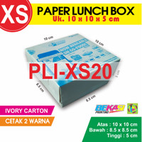 PLI-XS20 | Paper Lunch Box uk. XS 10x10x5 cm + Cetak 2 Warna