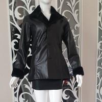 Jaket Kulit Warna Hitam Berbulu d Lengan Leher Untuk Laki-laki Wanita