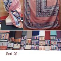 Jilbab Segi Empat Satin Motif Silk Vienna - seri : 02