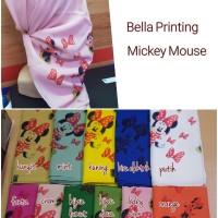 Jilbab Segi Empat Bella Printing Motif Mickey Mouse