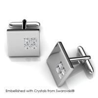 Square 2 Cufflinks - Manset Crystals Swarovski® by Her Jewellery