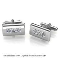 Rectangular Cufflinks - Manset Crystals Swarovski® by Her Jewellery