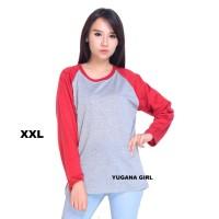 Belle Fashion Baju Kaos Jumbo XL-XXL T-Shirt Murah Wanita Cewek Raglan