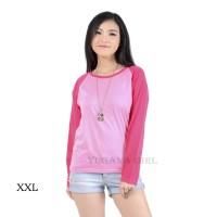 Belle Fashion Kaos L-XXL Jumbo T-Shirt Lengan Panjang Raglan Warna Mur