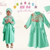 Fashion Muslim Gamis Anak Perempuan Bunga Bordir Hijau