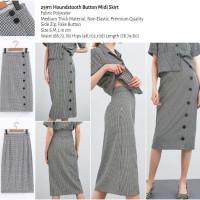 25911 Houndstooth Button Midi Skirt