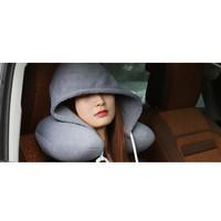 B723 Bantal Leher Travel dengan Hoody Soft Hooded U-pillow Neck Rest