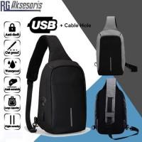 TAS FASHION SELEMPANG / SLEMPANG SLING BAG USB / TAS PRIA