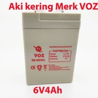 Aki kering VOZ 6V 4Ah emergency lampu - baterai - battery - accu