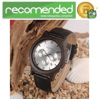 BOBO BIRD Jam Tangan Kayu Leather Strap - WP28 - Hitam Silver