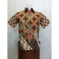ARCOBALENO SP450 Hem Batik Pria Lengan Pendek Kawung Pareanom Coklat