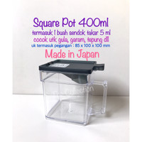 DP0159JP JAPAN 1197 Square Pot 400ml + Sendok Takar 5ml Tempat Bumbu