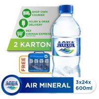 Beli 3 Box AQUA Air Mineral 600ml GRATIS Pouch Bag AQUA