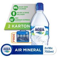 Beli 2 Box AQUA Air Mineral 750ml GRATIS Pouch Bag AQUA [P]