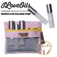 ILoveOils Transparent Roller Pouch 6 Slots - Moroccan Golden Pink