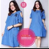 Real Baju Dress Terusan Rok Pundak Bolong Sabrina Bahan Jeans Big Size