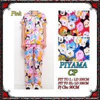Piyama CP fit to L/XL celana panjang baju pendek, katun jepang motif
