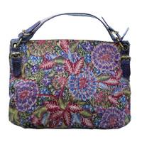 Galeri Soka Tas Satchel Wanita Motif Batik Bunga - Biru
