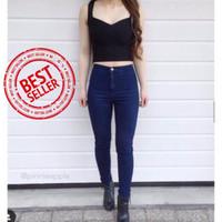 Celana Jeans Wanita Hightwaist Navy High Quality