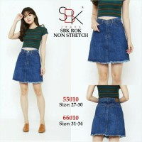 (SIZE 27-34) SBK 55010 66010 ROK DENIM JEANS BUTTON SKIRT (TERSEDIA