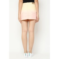 Mobile Power Ladies Ombre Straight Mini Skirt - Yellow Pink L3249
