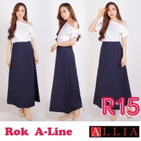 ALLIA - Rok A Wanita R15 M - 7L / Rok jumbo wanita / rok hitam panjang