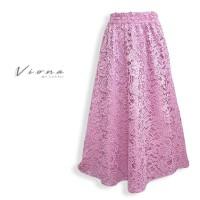 Rok Panjang Muslim Brokat Import Maxi Skirt Big Size Viona By Layali