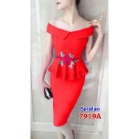 7919A#stelan katun/baju pesta import/fashion/atas bawah rok sabrina