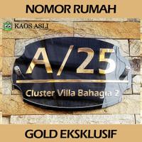 Eksklusif Plat Nomor Rumah Acrylic Gold 3 Lapis Dekorasi Dinding