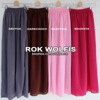 Rok Skirt Rok Panjang Wolfis Payung (woolpeach long skirt wanita)