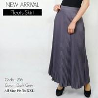 Rok Skirt PROMO R713 ROK PLISKET / PRISKET PANJANG maroon hitam